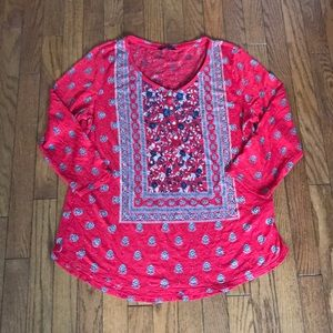 Lucky Brand Long Sleeve Boho Top L